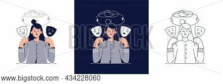 Bipolar Disorder Illustration Set. Woman With Two Face Masks Showing Depressive And Happy Mood. Mani