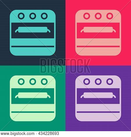 Pop Art Oven Icon Isolated On Color Background. Stove Gas Oven Sign. Vector