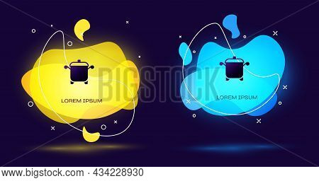 Black Cooking Pot Icon Isolated On Black Background. Boil Or Stew Food Symbol. Abstract Banner With