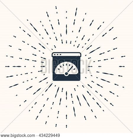 Grey Digital Speed Meter Icon Isolated On Beige Background. Global Network High Speed Connection Dat