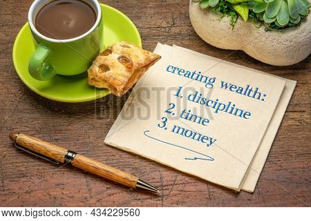 creating wealth - discipline, time and money, handwriting on a napkin with a cup of coffee, investing, retirement and financial concept