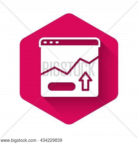 White Financial Growth Increase Icon Isolated With Long Shadow Background. Increasing Revenue. Pink