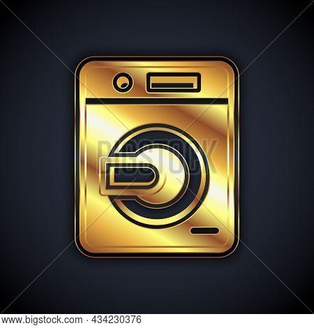 Gold Washer Icon Isolated On Black Background. Washing Machine Icon. Clothes Washer - Laundry Machin