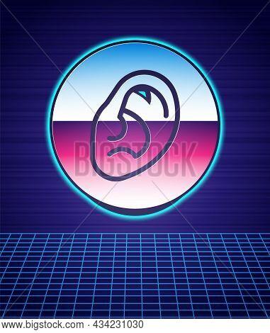 Retro Style Ear Listen Sound Signal Icon Isolated Futuristic Landscape Background. Ear Hearing. 80s