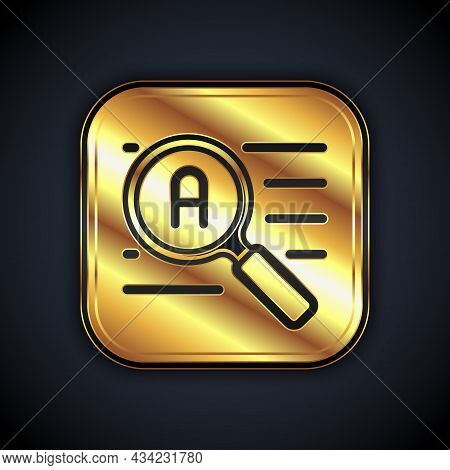 Gold Translator Icon Isolated On Black Background. Foreign Language Conversation Icons In Chat Speec