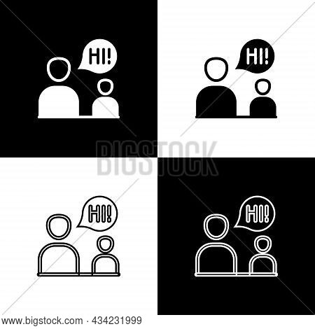 Set Two Sitting Men Talking Icon Isolated On Black And White Background. Speech Bubble Chat. Message