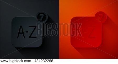 Paper Cut Online Translator Icon Isolated On Black And Red Background. Foreign Language Conversation