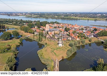 Aerial from the historical city Woudrichem at the river Merwede in the Netherlands