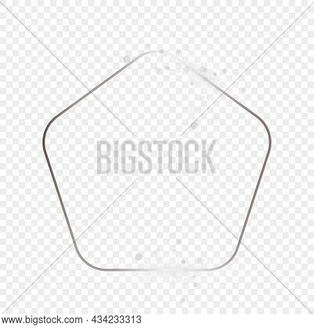 Silver Glowing Rounded Pentagon Shape Frame With Sparkles Isolated On Transparent Background. Shiny