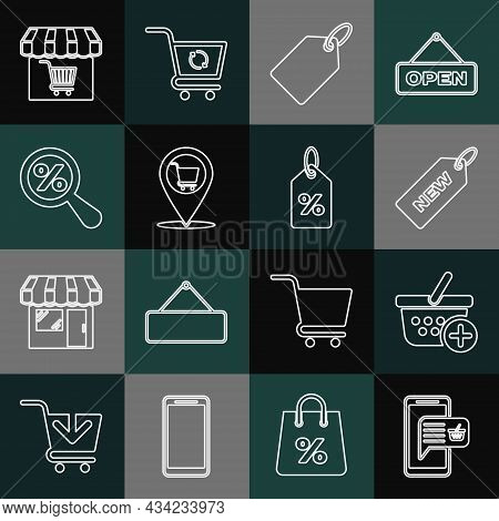 Set Line Mobile And Shopping Basket, Add To Shopping, Price Tag With New, Label Template Price, Loca