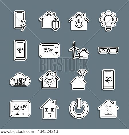 Set Line House Under Protection, Mobile With Heart Rate, Smart Glasses, Home, Thermostat, Wi-fi Wire