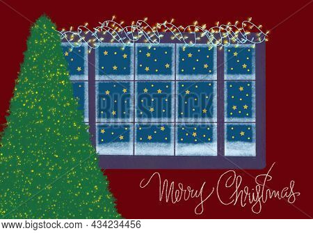 Christmas Card With Snowy Window And Christmas Tree In Lights For Winter Design.