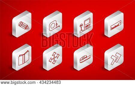 Set Line Arrow, Roulette Construction, Bus Stop, Ruler, Tape Measure, Pencil, Pixel Arrows In Four D