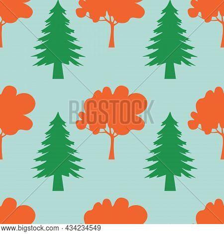 Autumn Seamless Pattern, Forest Park Grove Tree, Vector Illustration