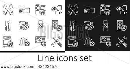 Set Line Crossed Screwdriver And Wrench, Mobile Apps Service, Video Camera, Drill Machine, Screwdriv