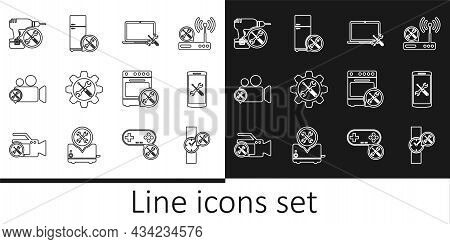 Set Line Wrist Watch Service, Smartphone, Laptop, Wrench And Screwdriver In Gear, Video Camera, Dril