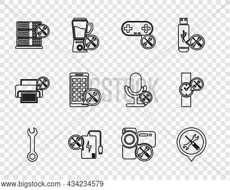Set Line Wrench, Location Service, Gamepad, Power Bank, Database Server, Mobile Apps, Video Camera A