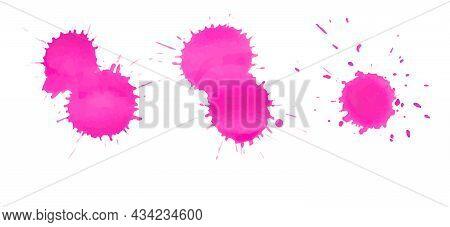 Set Of Pink Paint Spots, Splatter Blots Gradient, Vector Illustration
