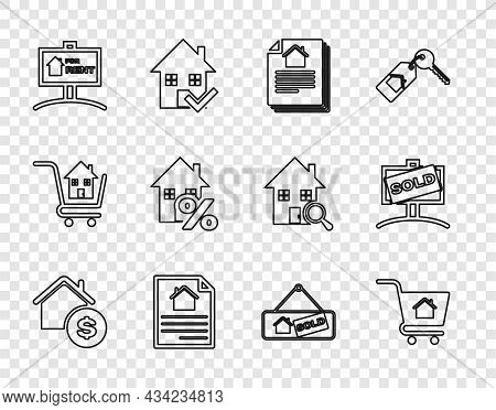 Set Line House With Dollar, Shopping Cart House, Contract, Hanging Sign For Rent, Percant, Sold And