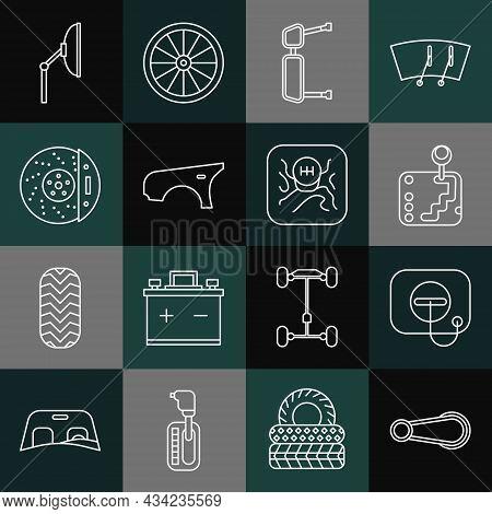 Set Line Car Door Handle, Oil Filler Cap At Gas Station, Gear Shifter, Truck Side Mirror, Fender, Br