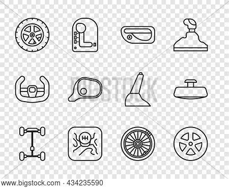 Set Line Chassis Car, Car Wheel, Door Handle, Gear Shifter, Mirror, And Icon. Vector
