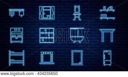 Set Line Refrigerator, Wooden Table, Chair, Shelf, Kitchen Dishwasher Machine, Office Desk, Bathtub