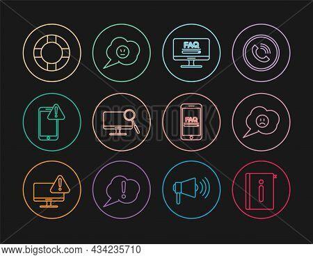Set Line User Manual, Speech Bubble With Sad Smile, Monitor Faq Information, Computer Monitor Diagno