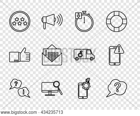 Set Line Question And Exclamation, Speech Bubble, Stopwatch, Computer Monitor Diagnostics, Five Star