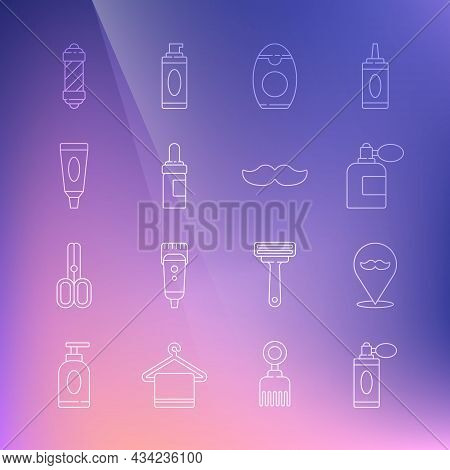 Set Line Aftershave Bottle With Atomizer, Barbershop, Bottle Of Shampoo, Beard And Mustaches Care Oi