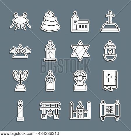Set Line Decree, Paper, Parchment, Scroll, Holy Bible Book, Ramadan Kareem Lantern, Church Building,