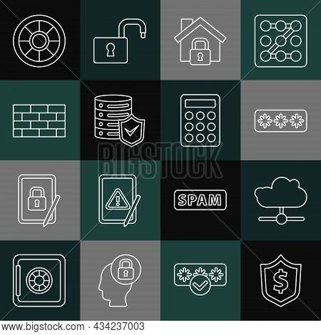 Set Line Shield With Dollar, Network Cloud Connection, Password Protection, House Under, Server Shie