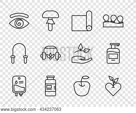 Set Line Iv Bag, Heart, Fitness Mat Roll, Collagen Serum, Hypnosis, Headphones For Meditation, Apple