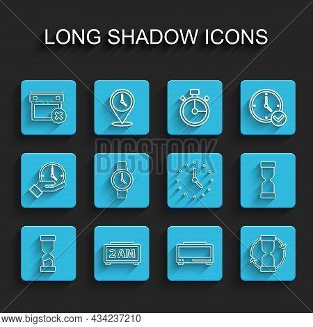 Set Line Old Hourglass, Digital Alarm Clock, Calendar Date Delete, Wrist Watch, And Clock Icon. Vect