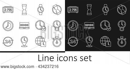 Set Line Stopwatch, Clock, Wrist, On Laptop, Digital Alarm Clock, And Old Hourglass Icon. Vector