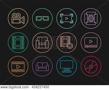 Set Line Cd Or Dvd Disk, Online Play Video, Cinema Chair, Play Video, Camera, And 3d Cinema Glasses