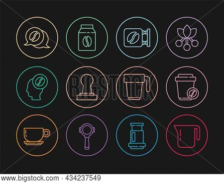 Set Line Coffee Pot, Cup To Go, Street Signboard Coffee, Tamper, Barista, And Conversation, And Bag