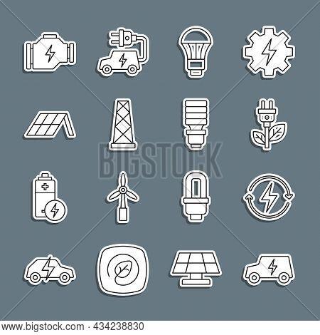 Set Line Electric Car, Recharging, Saving Plug Leaf, Led Light Bulb, Antenna, Solar Energy Panel, Ch
