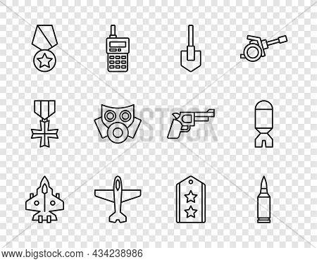 Set Line Jet Fighter, Bullet, Shovel, Plane, Military Reward Medal, Gas Mask, Rank And Rocket Launch