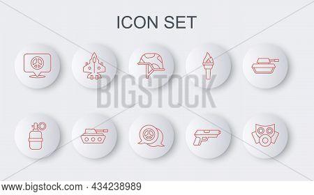 Set Line Gas Mask, Hand Grenade, Military Helmet, Pistol Or Gun, Location Peace, Jet Fighter, Tank A