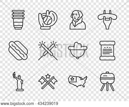 Set Line Statue Of Liberty, Barbecue Grill, George Washington, American Flag, Paper Glass, Sparkler