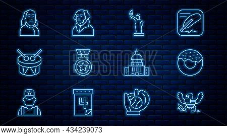 Set Line Eagle, Donut, Statue Of Liberty, Medal With Star, Drum And Drum Sticks, Benjamin Franklin,