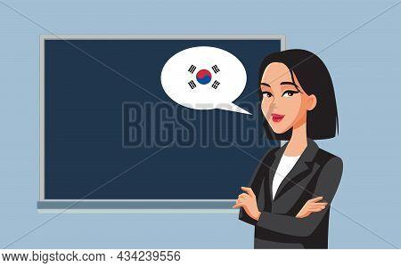 Female Professor Teaching Korean Language Vector Cartoon