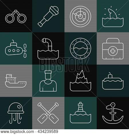 Set Line Anchor, Submarine, First Aid Kit, Radar With Targets, Periscope, Binoculars And Ship Portho