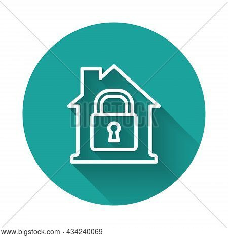White Line House Under Protection Icon Isolated With Long Shadow. Home And Lock. Protection, Safety,
