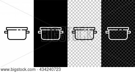 Set Line Cooking Pot Icon Isolated On Black And White Background. Boil Or Stew Food Symbol. Vector
