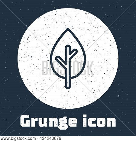 Grunge Line Tree Icon Isolated On Grey Background. Forest Symbol. Monochrome Vintage Drawing. Vector