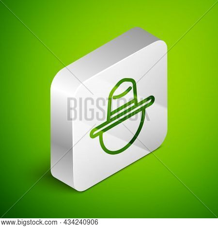 Isometric Line Canadian Ranger Hat Uniform Icon Isolated On Green Background. Silver Square Button.