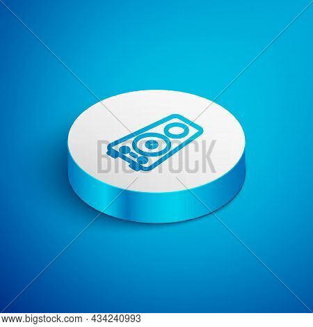 Isometric Line Stereo Speaker Icon Isolated On Blue Background. Sound System Speakers. Music Icon. M