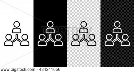 Set Line Project Team Base Icon Isolated On Black And White Background. Business Analysis And Planni