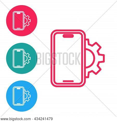 Red Line Phone Repair Service Icon Isolated On White Background. Adjusting, Service, Setting, Mainte
